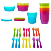 Ikea 36 Pcs Kalas Kids Plastic BPA Free Flatware, Bowl, Plate, Tumbler Set, Colourful