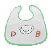 Press Stud Closure Green Trim Bear Prints Baby Infant Bib Towel