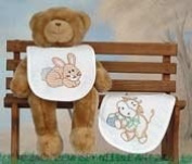 Stamped White Bibs 18cm - 1.3cm x 25cm 2/Pkg-Heavenly Creatures