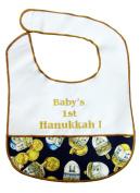 Baby's 1st Hanukkah or Chanukah Bib - Blue Dreidel & Gelt Motif