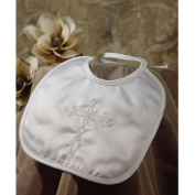 Boys Matte Satin Bib with Embroidered Cross