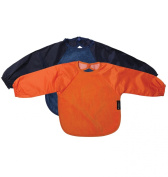 Sleeved Wonder Bib, Sz Small, 2 pack - Orange / Navy