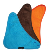 Bandana Wonder Bib, 3 pack - Teal, Chocolate, Orange