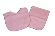 Pink and Chocolate Trimmed Bib and Burp Cloth
