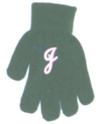 One Size Dark Blue Colour Magic Gloves Trimmed with Customer Chosen Ivory Monogram Letter for Infants Ages 0-4 Years