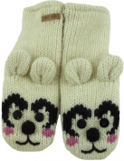 DeLux Happy Bear White Wool Animal Mittens