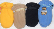 4fmg2.050, Set of Four Pairs (black, yellow,tan, and baby blue) One Size Mongolian Fleece Mittens for Infants Ages 0-6 Months