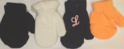Set of Four Pairs of Magic Stress Mittens for Infants Ages 0-6 Months. White Mitten with Customer Chosen Pink Monogram Letter