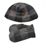 Faded Glory Toddler Boys Grey & Black Plaid Beanie & Mittens Fleece Hat Set