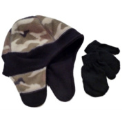 Faded Glory Infant Toddler Boys Green Cammo Fleece Hat Baby Mittens