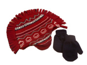 Faded Glory Toddler Boys Red Mohawk Trapper Hat & Mittens