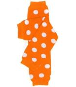 (#10) Tangerine & White Polka Dot Orange Baby girl or boy Leg Warmers