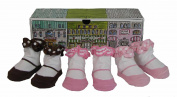 Dimples Shopping on the Square Three Pairs Bow Flat Socks, 0-12 Months