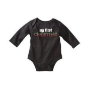 Baby Glam Boys' My First Christmas Onesie- Black - 3M
