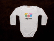 Long Sleeve Unique Hand Silk Screened 100% Cotton Novelty Baby Onesie SIZE 12-18 MONTHS - Baby Cakes
