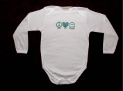 Unique Long Sleeve Hand Silk Screened 100% Cotton Novelty Baby Onesie SIZE 18-24 MONTHS - Peace Love Happiness