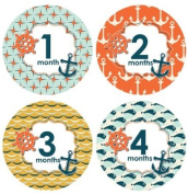 Lucy Darling Shop Baby Monthly Onesie Sticker - Baby Boy - Nautical Design - 1-12 Months
