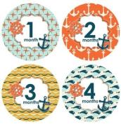 Lucy Darling Shop Baby Monthly Onesie Sticker - Baby Boy - Nautical Design - 1-12 Months