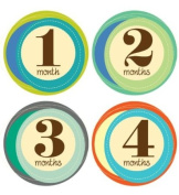 Lucy Darling Shop Baby Monthly Onesie Sticker - Baby Boy - Retro Numbers - Month 1-12
