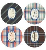 Lucy Darling Shop Baby Monthly Onesie Sticker - Baby Boy - Plaid Design - Months 1-12