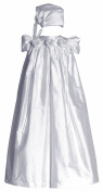 Short Sleeve Silk Dupioni Christening Gown #C34