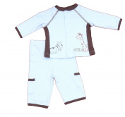 First Hugs Newborn Boys 2pc Set Animals Light Blue and Brown
