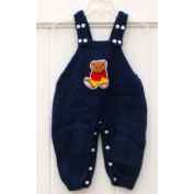 Hand Made Knit Wool Romper with a Cute Bear for Babies