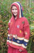 Red Flowered Child's Sweater with Pointy Hood, Infant Size