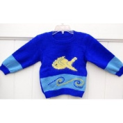 Hand Made Knit Wool Sweater with Cute Fish for Boys