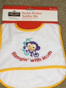 "Pocket Perfect Toddler/Baby Bib Catch-all-pocket Monkey Applique ""Hangin' with Mom"""