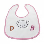 Bear Print Water Resistant Inlay Baby Lunch Bib Saliva Towel Pink White
