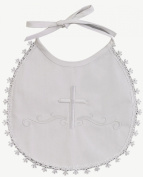 White Embroidered Cotton Christening Baptism Bib