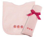 Princess Linens Cotton Knit Bib and Burp Pad Set with Daisy Motif, Pink