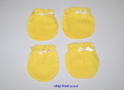 4 Pairs Cotton Newborn Baby/infant Yellow No Scratch Mittens Gloves 0-6 Months.