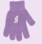 One Size Purple Colour Magic Gloves Trimmed with Customer Chosen Ivory Monogram Letter for Infants Ages 0-4 Years