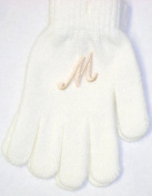 One Size for Ages 0-4 Years White Magic Gloves with Customer Chosen Ivory Monogram Letter