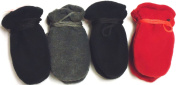 4fmg2.153, Set of Four Pairs One Size Mongolian Fleece Microfiber Lined Very Warm Mittens for Infants Ages 0-6 Months