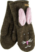 DeLux Bunny Rabbit Brown Wool Animal Mittens