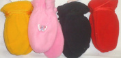 Set of Four One Size Finest Mongolian Fleece Multicolor Mittens for Ages 3-12 Months