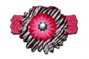 "Hot Pink Black White Zebra Jewel Gerbera Daisy Flower Pink Crochet Headband Gerber for Girls/ Child/ Baby Toddler apparel head hair band bow bows girl soft infant youth accessory by ""BubuBibi"""
