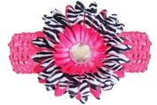 Hot Pink Black White Zebra Jewel Gerbera Daisy Flower Pink Crochet Headband Gerber - Girls Child Baby Toddler Apparel Head Hair Band Bow Bows Girl Soft Infant Youth Accessory