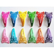 24 Pcs - Mix Colour Butterfly Hair Snap Clip for Toddler Baby - Size 40 Mm