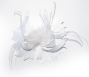 A Girl Company All White Ribbon Feather Hair Bow for Girls