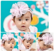 Lace Baby Pink Flower Headbands; Plus a Free Gift Baby Hair Clip