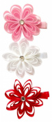 A Girl Company Pink,White, Red Ribbon Flower Hair Clip Set for Girls