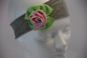 100% All Cotton Grey Headband with Cotton Pink / Green Flower for Girls