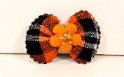 Jo-ann's Autumn Plaid Bows (15) Flower Centre with Crystal,orange/black Plaid