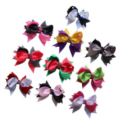 Janecrafts 10.2cm Layered Two Tone Colour Boutique Spike Hair bows 10pcs Mixed in 10 Colours