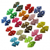 Janecrafts 8.9cm Polka Dot Pinwheel Hair Bows 30pcs in 15 colour-Perfect for Babys.Girls,Toddlers