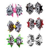 Janecrafts Big Zebra Baby Girl Fashion Spike Hair Bows 12pcs Mixed in 6 Colour-Perfect for Babys.Girls,Toddlers